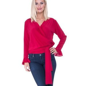ANALILI Jackie Asymmetrical Wrap Close Silk Top